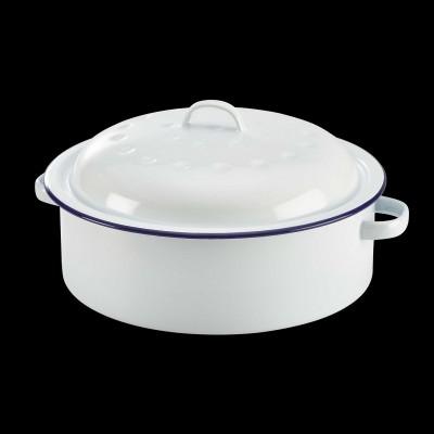 Enamel Roaster With Lid White W Blue Rim