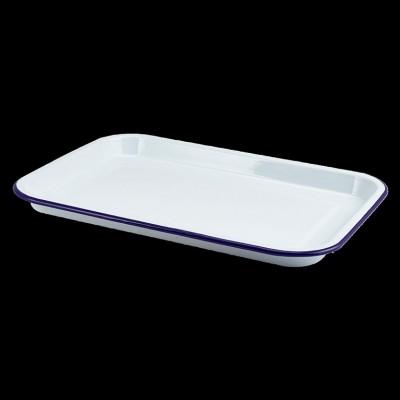 Enamel Serving Tray White W Blue Rim