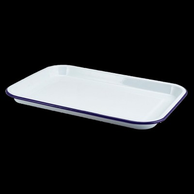 Enamel Serving Tray White W Blue Rim