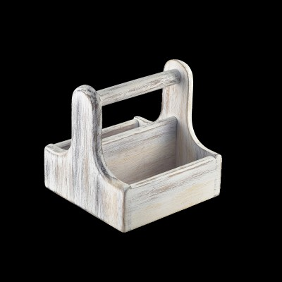 Wood Table Caddy White