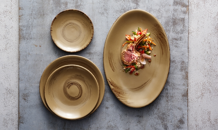 ... glossy hand-brushed swirl on the face of each item while the underside boasts a soft caramel-matte finish. Collectively this coupe-styled range ... & La Tierra - Alma - Anfora - China - Dinnerware